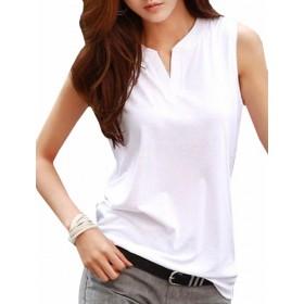 Magno レディース Vネック ノースリーブ トップス Tシャツ カットソー カジュアル シンプル (22 ホワイト Lサイズ)