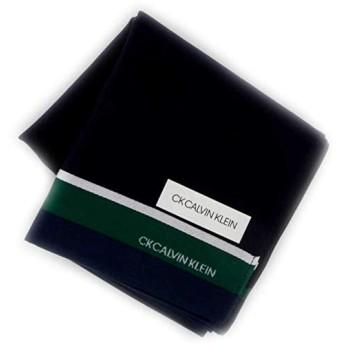 カルバンクライン 紳士 ハンカチ (ネイビー×グリーン) 大判 [綿100%] ビジネス メンズ ハンカチーフ 48cm CK CALVIN KLEIN 119033-9252-62