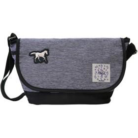 プラスエイチ(Plus H) ショルダーバッグ ミニショルダー 柴犬 3D刺繍パッチ付き 無地 メンズ レディース PH8414 (グレー・白馬3D刺繍パッチ)