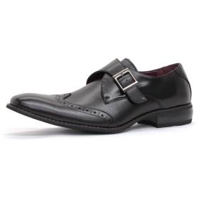 【ZINC/ジンク】 5864 日本製ビジネスシューズ 紳士靴 ロングノーズ (26.5cm, ブラック)