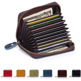 APHISON カードケース メンズ 本革 9枚~11枚 シンプル クレジットカードケース じゃばら式 RFID スキミング防止 父の日 ギフトボックス付き(ブルー)