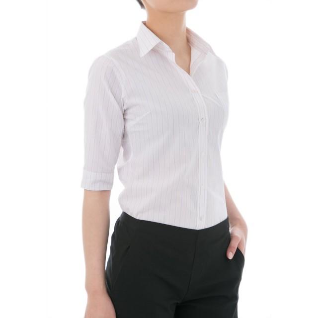 ベーシックシャツ 5分袖 S TCSパープル (シャツ ブラウス ストライプ レディース 就職活動 通勤 オフィス ビジネス ユニフォーム リクルート スーツ インナー 大きいサイズ 事務服) [22331]