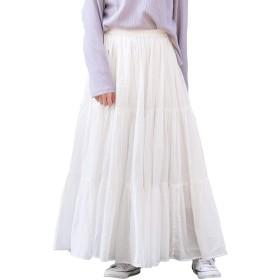 [アンドジェイ] インド綿 ティアード マキシスカート (4303) M ホワイト