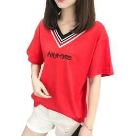 tシャツ レディース トップス カットソー 英字プリント vネック ゆったり オーバーサイズ 綿シャツ 夏ファションロゴT 红L