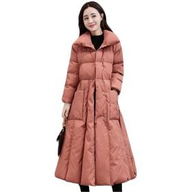[ディーハウ]レディース 冬服 防寒ジャケット 中綿コート ロングコート ダウンコート ダウンジャケット 大きいサイズ アウター ビジネス ゆったり シンプル ファッション 着痩せ 軽量 スリム きれいめ 修身 ピンク3XL