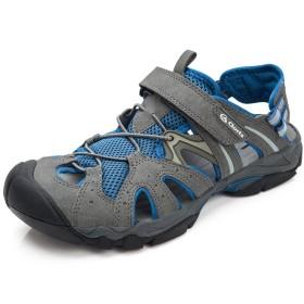 メンズ サンダル スポーツサンダル ビーチサンダル アウトドアシューズ ウォーターシューズ つま先保護 夏用靴 (クローツ)Clorts ブルー EUR43