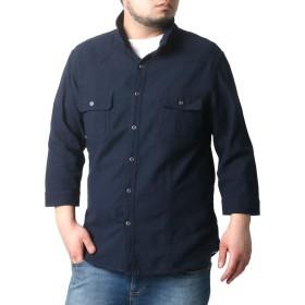 [ノータべネ] 大きいサイズ メンズ シャツ 7分 スタンドカラー ネイビー LL