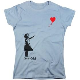 Nutees Women's Banksy Girl Heart Shaped Balloon T Shirt Light Blue Medium