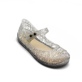 Candykids キッズ ラバーシューズ 子供靴 女の子 メリージェーン ゼリーバードネスト レイヤードサンダル (内寸15.6cm, シルバー)