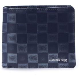 サマンサキングズ バイ サマンサタバサ 市松模様柄 バイカラー 二つ折り 財布 (ネイビー)