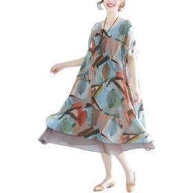 PIITE レディース ワンピース 夏 ロングドレス 半袖 花柄 シフォン 大きいサイズ 膝丈スリム マキシワンピース 重ね着風 ロング丈 体型カバー ゆったり カジュアル 韓国風 大人写真色