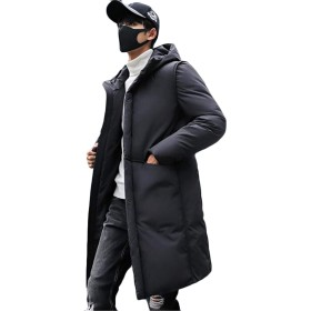 [ジャング] 秋冬 ジャケット 防寒 ダウンジャケット ロング丈 中綿 フード付き 厚手 メンズ ブルゾン ビジネスコート 通勤 ファッション 大きいサイズブラック4XL