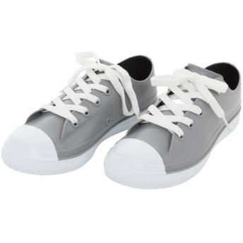 [trentiva] レインシューズ レディース キッズ スニーカー 靴 雨靴 ショート ローカット おしゃれ かわいい カジュアル (L(24~24.5cm), グレー)