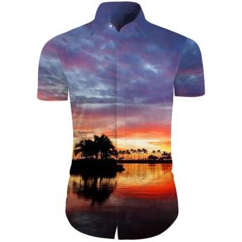 メンズ アロハシャツ 半袖 シャツ オシャレ 3Dプリント 風景柄 トップス ハワイ風 ビーチシャツ おしゃれ 通気性 ファンション ワイシャツ おおきいサイズ