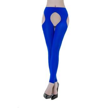 Fashion Queen 女性のオープンクロッチレギンス太ももの透けサスペンダータイツ伸縮性のあるパンティーストッキング (Free Size, Blue)