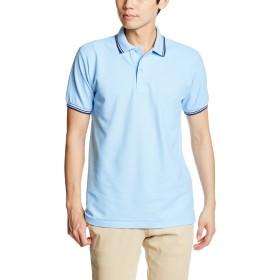 [プリントスター] 半袖 5.8オンス TC 鹿の子 ベーシック ライン ポロシャツ 00191-BLP メンズ サックス×ネイビー LL (日本サイズLL相当)