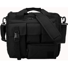 TACVASEN タクティカル ショルダーバッグ ビジネスバッグ パソコン手提げバッグ 多機能迷彩手提げバッグ ビジネスバッグ 2way ブラック