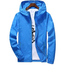 [JPバレンタインデー]メンズ ラッシュガード パーカー UVカット ランニングウェア 日焼け防止服 長袖シャツ 夏服 水着 紫外線対策 通気性 軽量 薄手 男女兼用シャツ 無地 ガーディガン フード付き ジャケット ブラウス 9カラ展開 (ブルー, 3XL)
