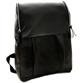 ADCRAS (アドクラス) レザー リュック サック 軽量 18L バッグ 鞄 (ブラック)