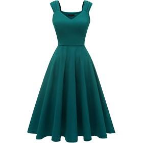 Dresstell(ドレステル) ワンピース 結婚式ドレス ロング ワンピース Vネック 大きいサイズ フレア レトロ Aライン 二次会 お呼ばれ パーティードレス 秋冬 ターコイズ 2XLサイズ