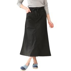 [クロスマーベリー] ツイル ロング スカート フレア Aライン ストレッチ ウエストリブ 大人 カジュアル シンプル デザイン きれいめ ゆったり オシャレ かっこいい コットン レディース 女性 婦人 ガールズ 大きいサイズ (W12 ブラック L)