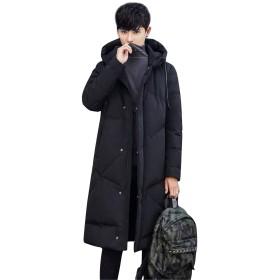 [リュハイ] ダウン ロング コート メンズ 大きいサイズ ダウンジャケット 秋冬 無地 ビジネス 防風防寒 通勤 通学 ブラック3XL
