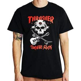 ブラック/Sサイズ/スラッシャー THRASHER スケボー Tシャツ SKATE ROCK SKULL TEE USA規格
