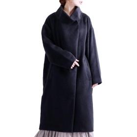[ゴールドジャパン] 大きいサイズ レディース スタンド カラー コクーン コート ロング 長袖 無地 sada-6413 3L ブラック