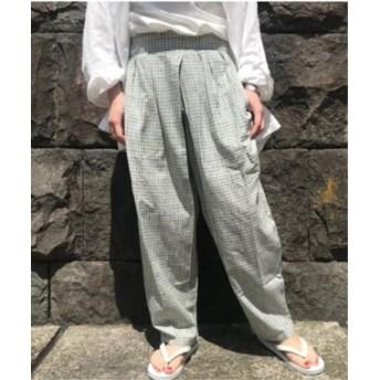 journal standard luxe 【Khadi & Co / カディ& コー 】tuck pants(check)◆ ブルー A L