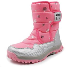 [アモジ] キッズ スノーブーツ スノーシューズ 長靴 スキー ガールズ ジュニア 女の子 男の子 ボーイズ 子供 レディース ボア 冬用 防寒 ピンク 23cm