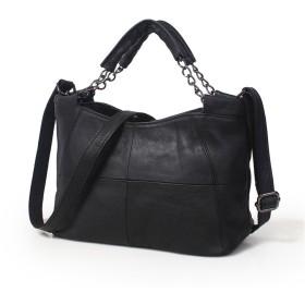女性のハンドバッグ高級本物の牛革レザーショルダーバッグ (黒)