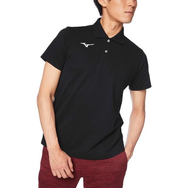 [Mizuno] トレーニングウェア ポロシャツ 半袖 スタンダード 32MA9195 ブラック×ホワイト 日本 S (日本サイズS相当)