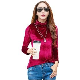 Romancly レディース暖かいティートップ快適な長袖タートルネックTシャツ jujube red S