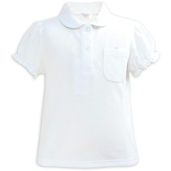 ASHBERRY (アッシュベリー) 丸えり半袖ポロシャツ/白/鹿の子/女の子/子供/スクール/キッズ/小学生/制服(10600) 160cm