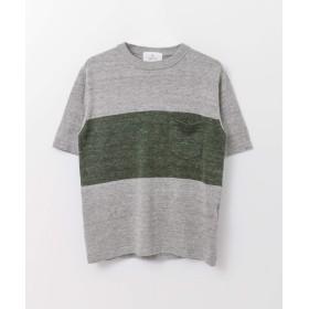 [サニーレーベル] セーター ウォッシャブルリネンバイカラー半袖ニット メンズ GRYXGRN M