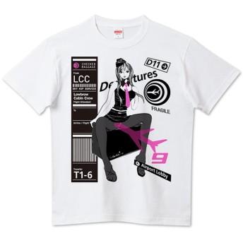 LCC プリント Tシャツ エアポート ピンナップ ガール トラベル デザイン メンズ 半袖 0232 半袖 L ブラック