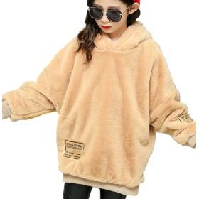 CAIXINGYI冬の女の子のジャケット2017新しい大きな子供キルティングコットンのセーター子供のフード付きジャケット (160CM, カーキ)