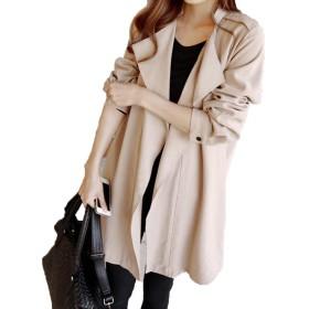 Vcbpq レディース スプリングコート ゆったりコート ロング丈アウター 大きいサイズ 春 コート レディース ファッション フェミニン 可愛い コート アウター ライトブラウン(カーキXL)