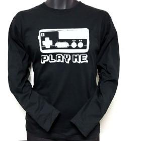 レトロ ゲーム コントローラー PLAYME 長袖Tシャツ ロンT 黒 ブラック ☆ ファミコン80's90's アメカジ (XL)