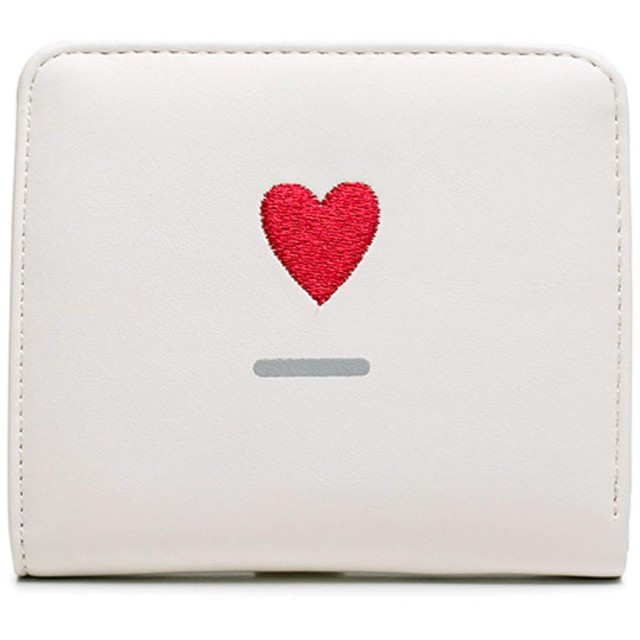 MENOZO Q293 ミニ財布 女の子のお財布 二つ折り財布 ファスナー小銭入れ スナップボタン付き 軽量 コンパクト リボン タッセル チャーム (ホワイト)