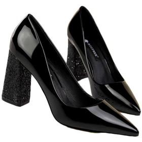 [シュウアン] ポインテッドトゥ パンプス レディース 歩きやすい キラキラ グリッター 8.5cm ヒール 太ヒール ハイヒール 赤 ブラック ホワイト 黒 旅行 結婚式 キャバ 靴 シューズ 小さいサイズ 22.0cm キラキラ パーティー 二次会