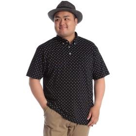 サカゼン B&T CLUB 大きいサイズ メンズ COOLMAX ペイズリー柄 ボタンダウン 半袖 ポロシャツ ブラック / X2(4L~5L相当)