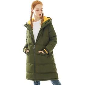 ダウンコート レディース ロング フード付き 暖かい コート 中綿 ダウンジャケット 厚手 防風 防寒 アウター 軽量 XL アーミーグリーン