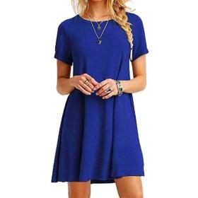 Kankanluck レディースクルーネックソリッドカラースリムフィットカジュアルサマールーズドレス Blue L