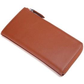 [レガーレ] 長財布 カードケース付き L字ファスナー シンプル財布 財布 本革 カーボンレザー 7色 オリジナル化粧箱入り (ブラウン)