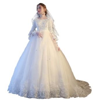 hanamaya ホワイト ラウンドネック ラッパの袖 ロングトレーン ウェディングドレス 妊娠さんもOK 演奏会用 ロングドレス 二次会ドレス 花嫁ドレス (XXXXL)