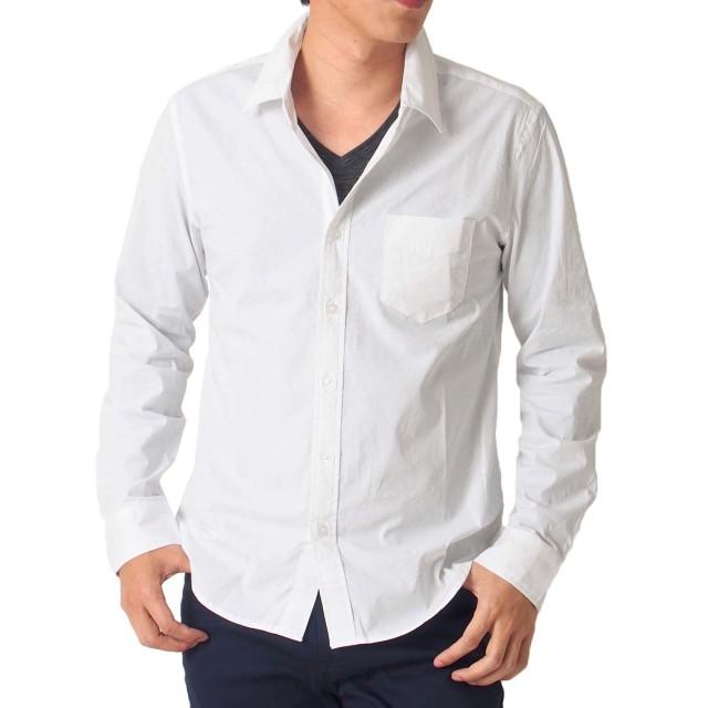 (トップイズム) TopIsm 長袖 シャツ メンズ ブロード 無地 ストレッチ カジュアル 白 黒 グレー シャツ ドレスシャツ L 1-ホワイト
