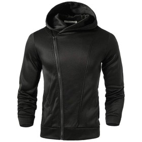 J.M.K メンズ ジャケット 長袖 フード パーカー スウェット ライダース ジップ アップ トレーナー 上着 斜め ジッパー 付 トップス (ブラック XXXL)