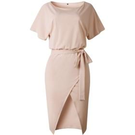 AngelSpace オールドスプリットペンシルシースドレスの女性ソリッドカラークルーネックショートスリーブレース AS2 L