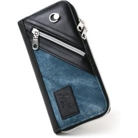 [ジーニズム エドウィン] 財布 長財布 合皮 ラウンドファスナー